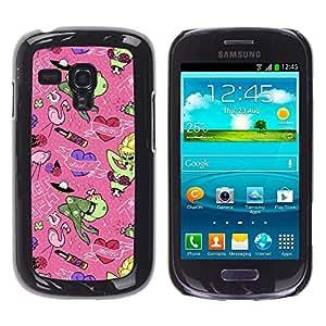 TECHCASE**Cubierta de la caja de protección la piel dura para el ** Samsung Galaxy S3 MINI NOT REGULAR! I8190 I8190N ** Dad Mom Family Holiday Art Green Monster