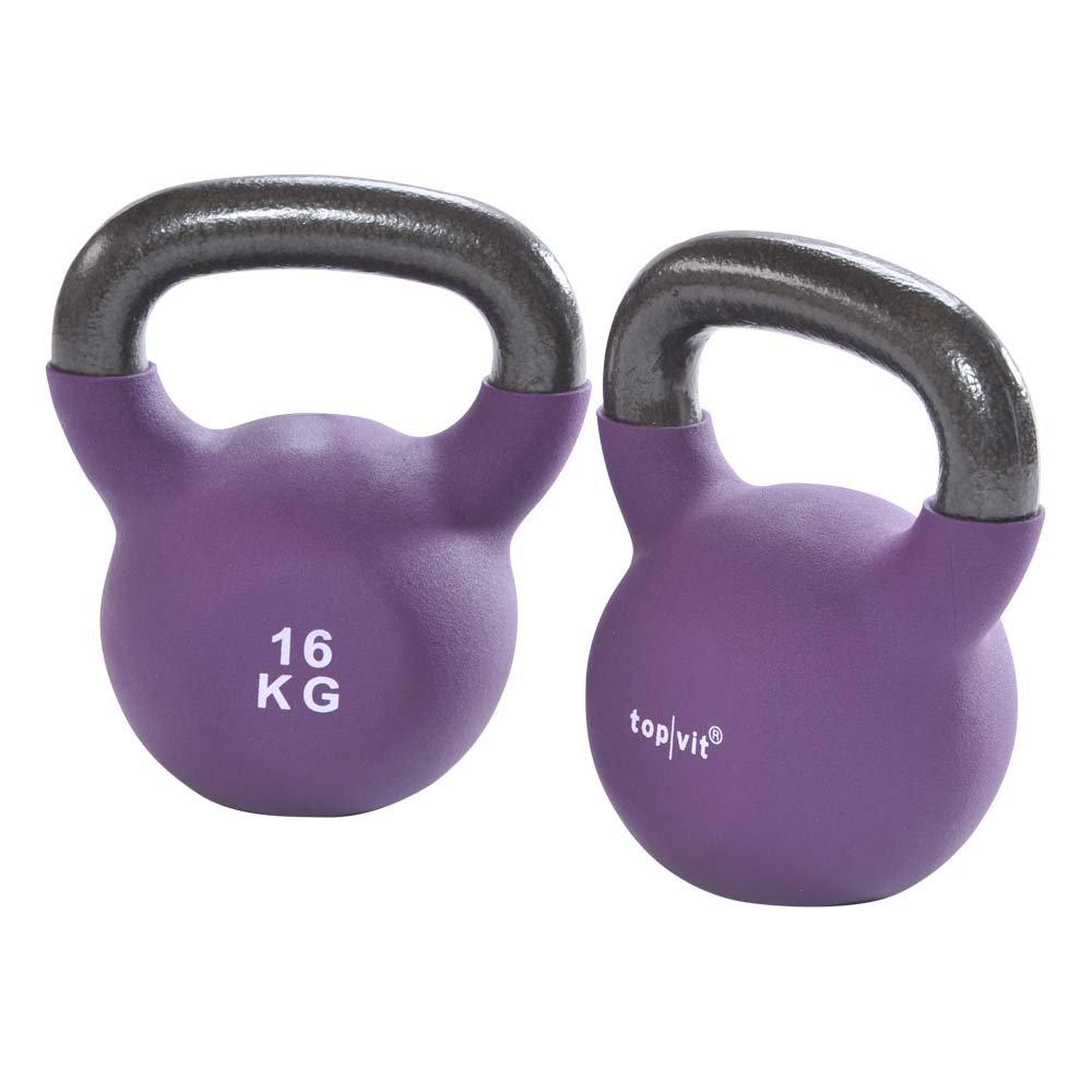 1 x Kugelhantel, top vit® kettle.bells, Neopren-Hantel, Gewichte, 16,0 kg, lila