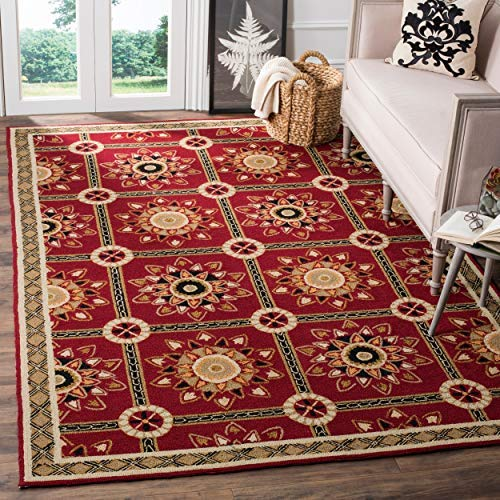 Safavieh Easy to Care Collection EZC711A Hand-Hooked Red and Natural Area Rug 6 x 9