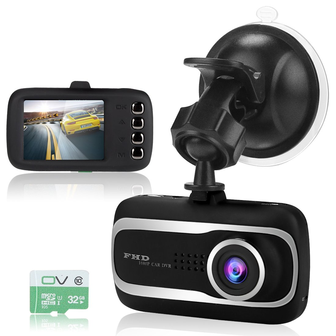 Mini Dash Cam Car Camear 2K FHD 1080P 2 Inch HD LCD 170 Degree Wide Angle Dash Camera for Cars with Motion Detection, G-Sensor, WDR, Loop Recording Car Camera 32G TF Card