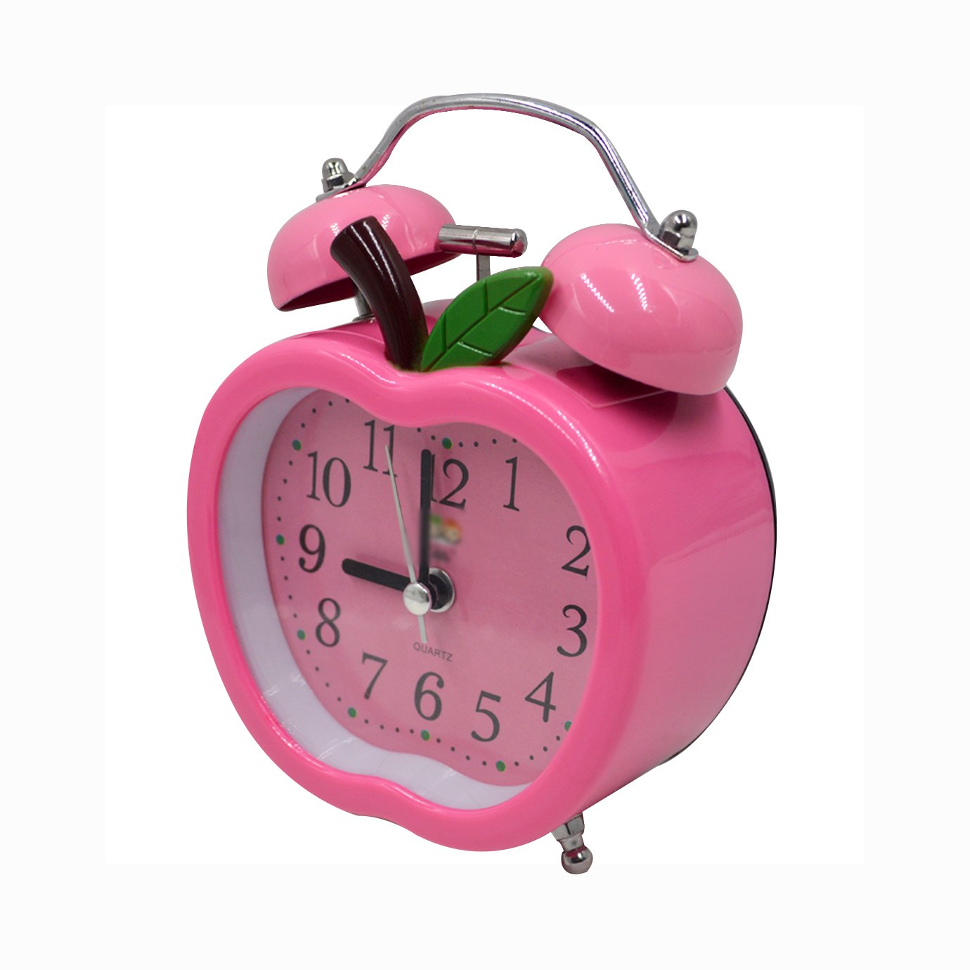 CLARA Cute Apple Shape Time Alarm Clock Retro Clock With Nightlight For Kids Children(Pink)