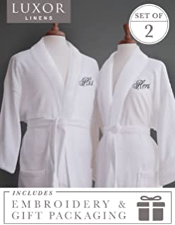 958b9a6fb1 Luxor Linens Egyptian Cotton His   Hers Terry Robes His   Hers with Gift  Packaging