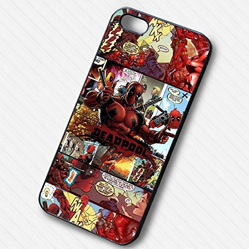 Deadpool Comic -tr Coque Iphone 6 et Coque Iphone 6s Case (Noir Boîtier en plastique dur) F8J2AP
