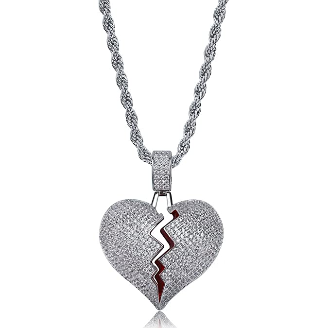 TOPGRILLZ Iced Out Lab Premium Simulated Diamond Bling Bubble Broken Heart Pendant Necklace Chain for Men Women Fashion Jewelry