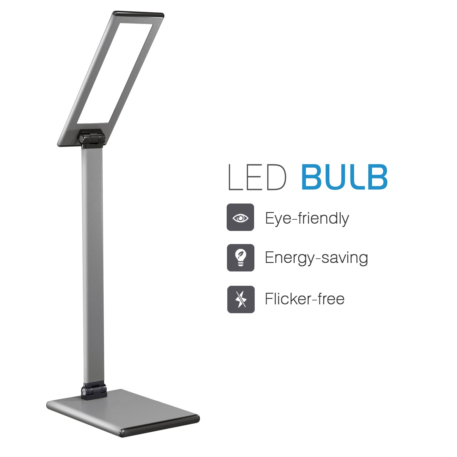 MoKo LED Desk Lamp, 8W Eye-Care Smart Touch Control Table Lamps with Rugged Aluminum Alloy Body, Stepless Adjusted Color Temperature/Brightness Level, Rotatable Arm/Head, Memory Function - Dark Gray by MoKo (Image #2)