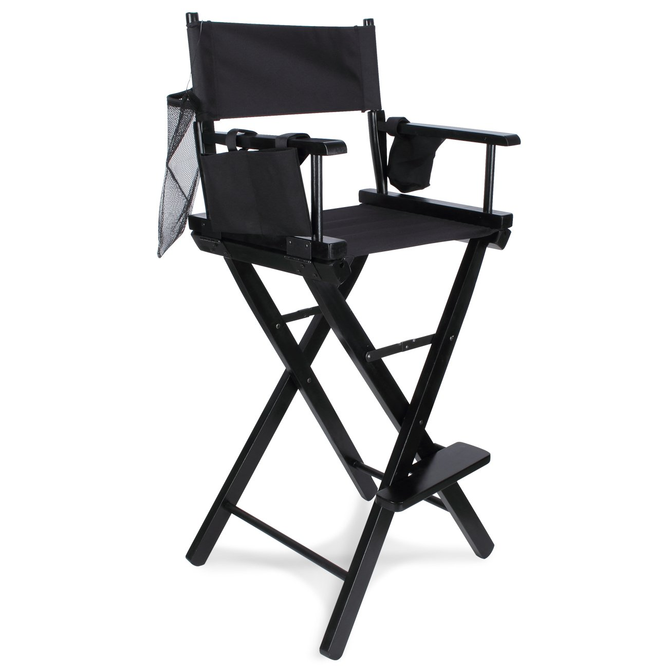 Bellavie Professional 30'' Extra-Wide Portable Makeup Artist/Director Chair with Cup Holder, Storage Bag, Black