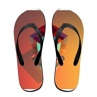 Couple Flip Flops Geometry Background Colour Print Chic Sandals Slipper Rubber Non-Slip Spa Thong Slippers