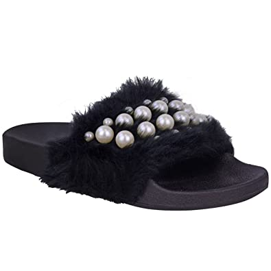 0bce8e749580 Fashion Thirsty Womens Ladies Flat Slip On Faux Fur Sliders Pearl Sandals  Summer Slippers Size  Amazon.co.uk  Shoes   Bags