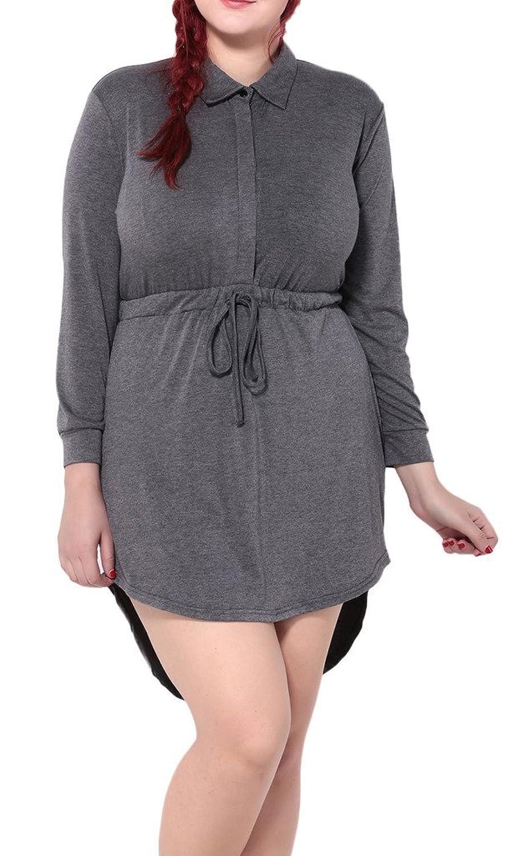 Bigood Plus Size Steh-Kragen Damen Lange Armel Minikleid Sommerkleid Freizeitkleid Grau