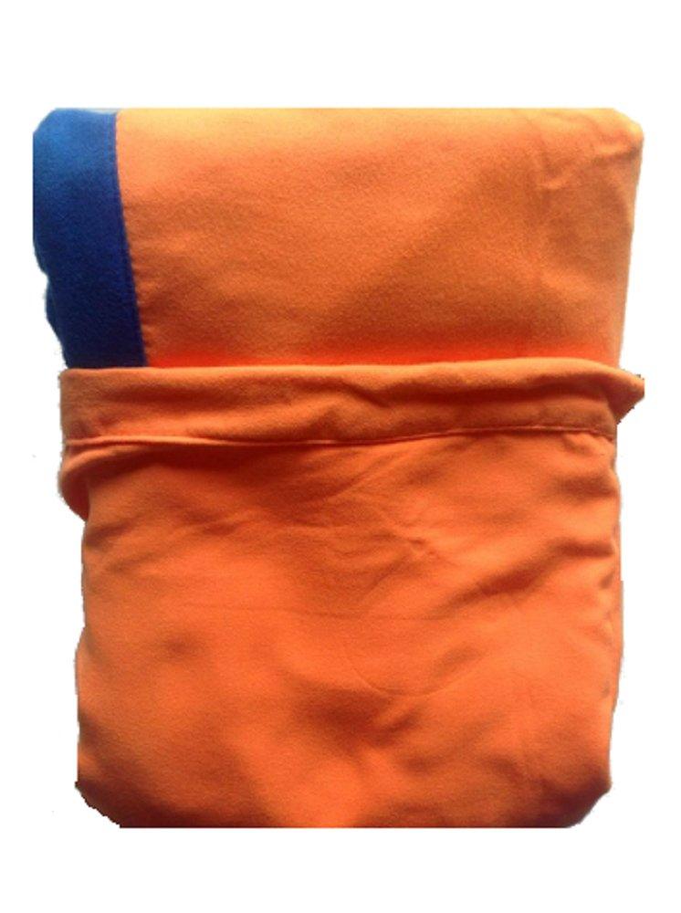 Coprilettino Telo Mare Lettino Sdraio con Tasche e Borsetta in Microfibra Marilyn (Arancio Tasche Blu)