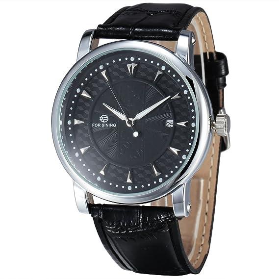 Forsining Relojes Classic para hombre automático FECHA automática reloj mecánico Self-winding analógico esqueleto hombre
