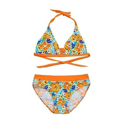 Fineser Kids Baby Girls Swimsuits 2 Pieces Floral Print Halter Tankini Swimwear Beach Wear Bikini Set for 5-10T