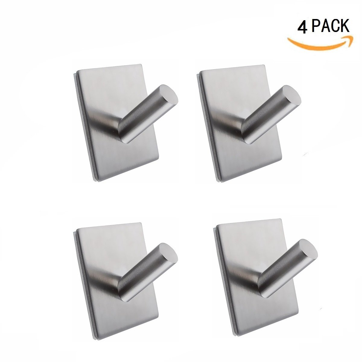 JIAEN Hook 304 Stainless Steel Self-adhesion Hooks for Storage in Bathroom Kitchen Toilet Hotel Restaurant to Hang Towel Coat Cap Hat Kitchenware,Brushed Rustproof,3M Adhensive 4 Pack (Type A-4Pack)
