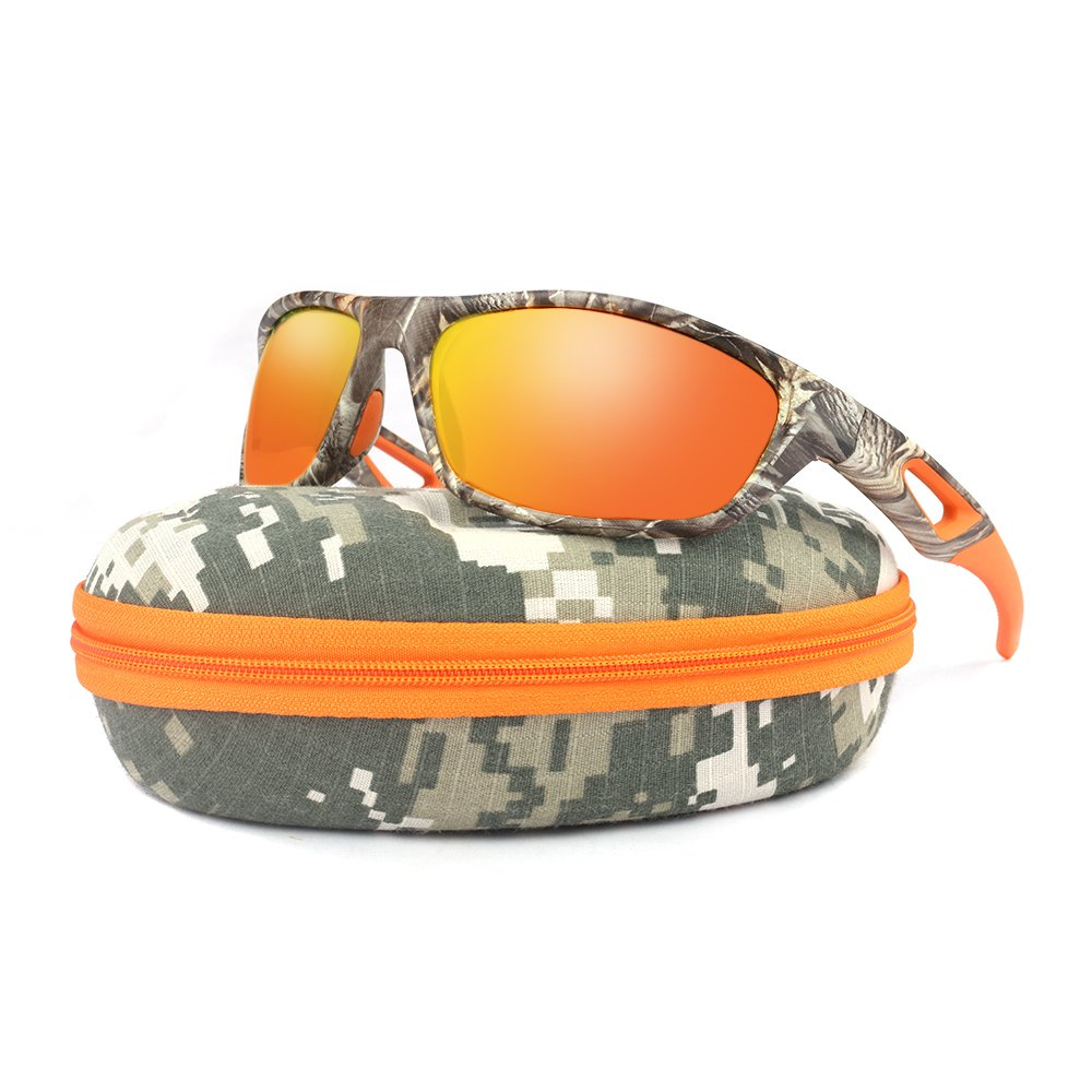 Polarized Sport Sunglasses for Men Women - Camouflage Designer Unbreakable TR90 frame for Golf Baseball Volleyball Fishing Cycling Driving Running Sun Glasses Mirror Lens
