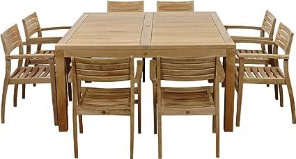 Amazonia Teak Victoria 9 Piece Teak Square Dining Set
