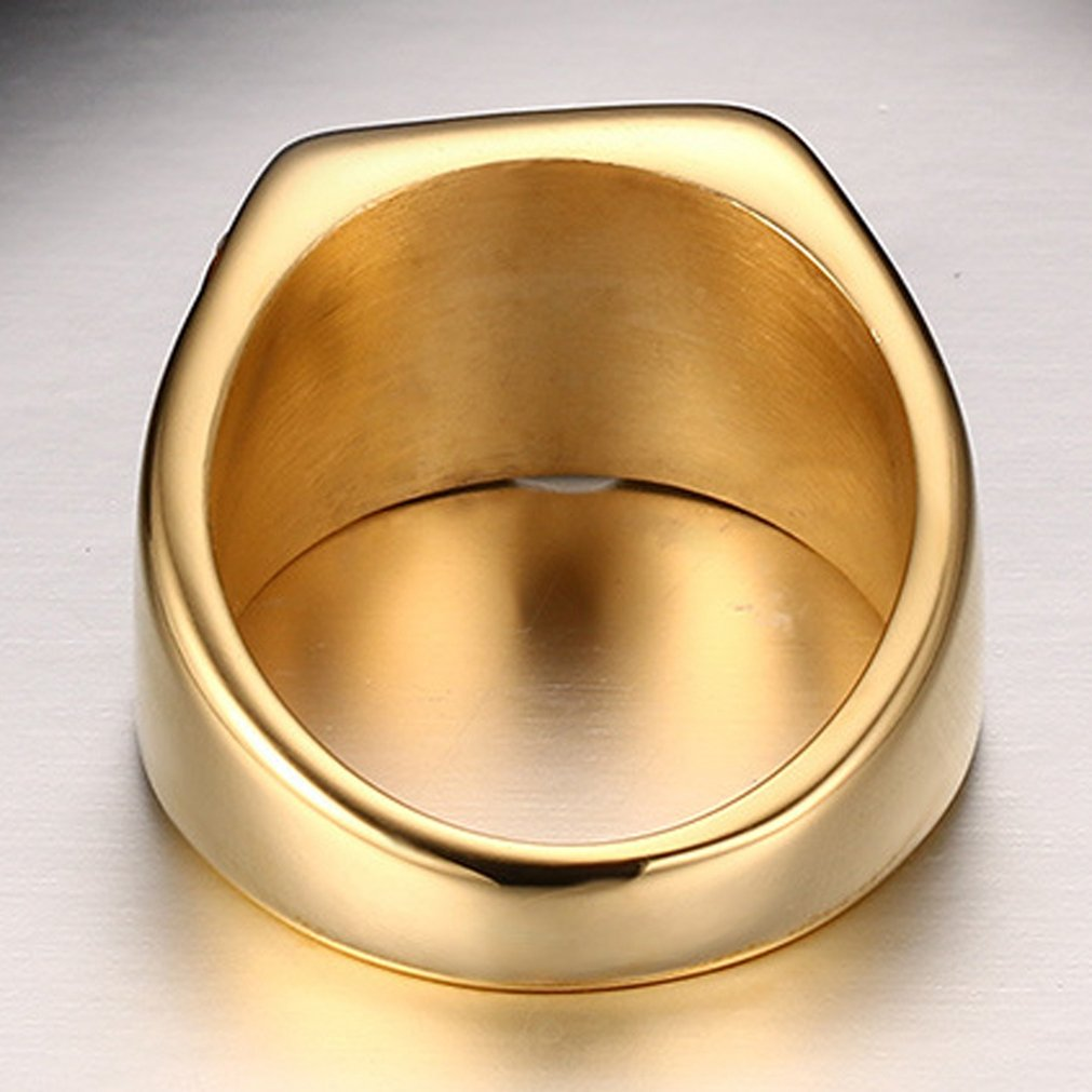SAINTHERO Mens Wedding Bands Vintage 316L Stainless Steel Gold Engagement Rings High Polished Finish Comfort Fit Size 7-12