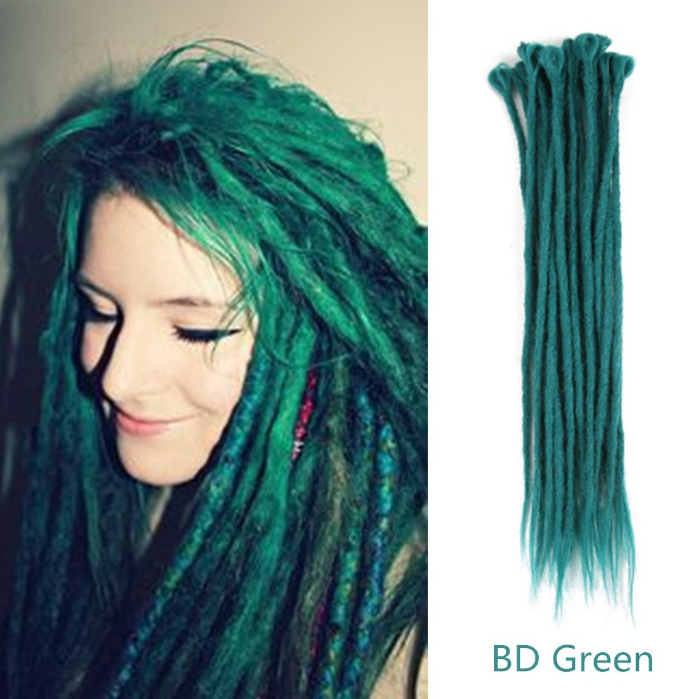 AOSOME All Handmade Dreadlocks Extensions/Braiding Hair/Reggae Hair Synthetic Hair Extension (BD Green-18'')
