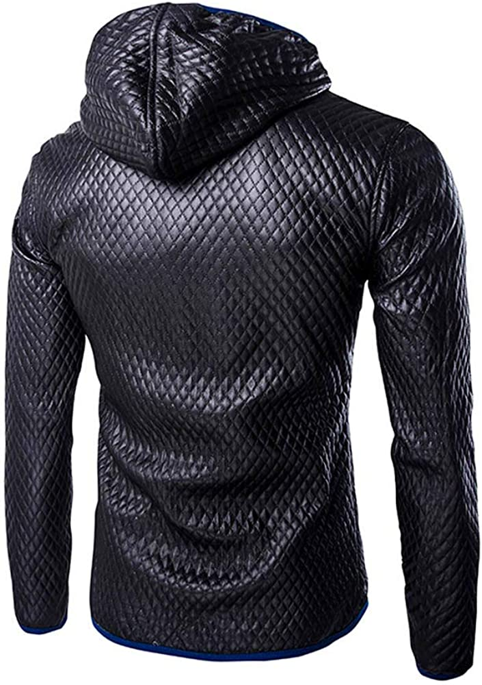iTLOTL Mens Autumn Winter Casual Long Sleeve Solid Stand Hooded Leather Jacket Top