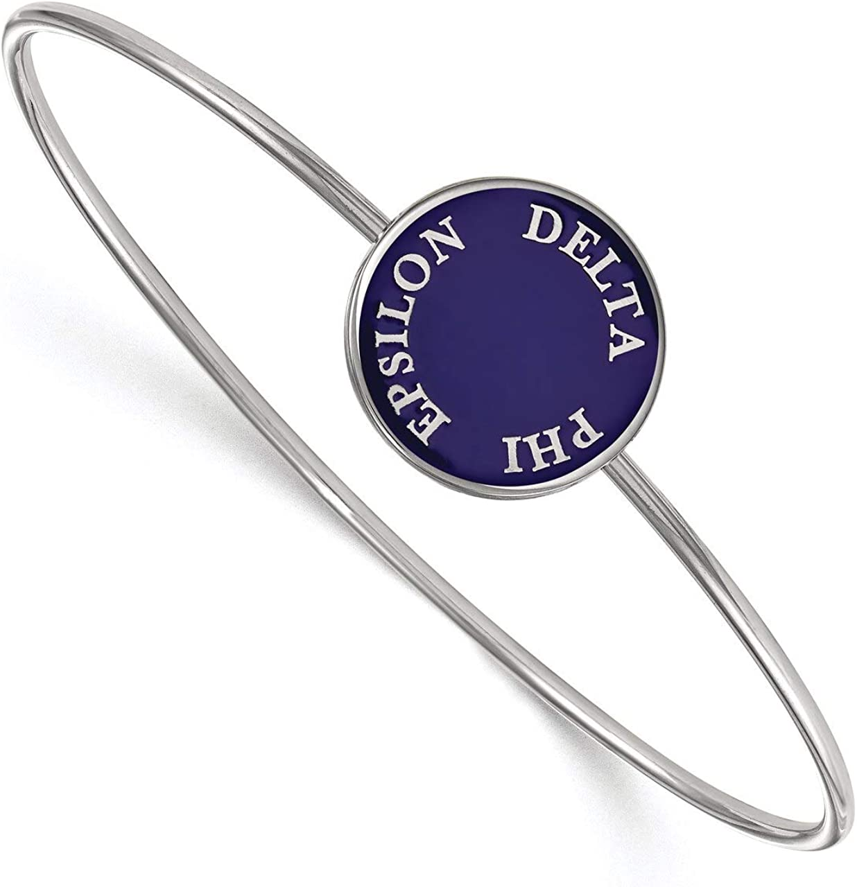 Lex /& Lu LogoArt Sterling Silver Delta Phi Epsilon Enameled Slip-on Bangle LAL162706