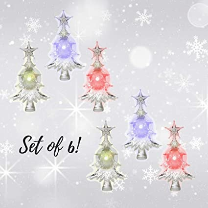 christmas window clings set of 6 suction cup xmas trees led color changing lights - Battery Operated Christmas Window Decorations