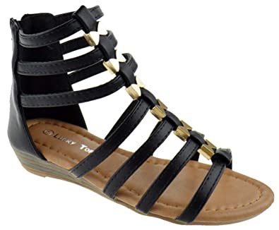 a16b7bd745d Lucky Top Avery 1K Little Girls Metal Bow Caged Peep Toe Gladiator Wedge  Sandals Black 1