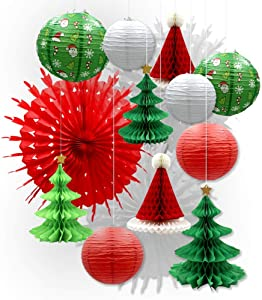 UNIQOOO 14PCS Assorted 3D Christmas Honeycomb Paper Lantern Decoration Garland Set,Celling Hanging Tissue Pine Tree Star, Santa Hat,Snowflake Fan,Japanese Lanterns for Holiday XMAS Party Banner Supply