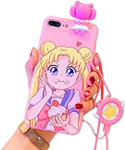 for iPhone 11 Pro Max Case Cover, Japan Anime Sailor Moon Case with Lanyard Strap Silicone Soft Phone Case Back Cover for iPhone 11 Pro Max Xs Max XR 6S 7 8 Plus (Eating, for iPhone 11 Pro Max)
