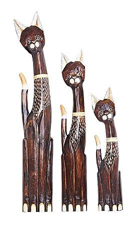 Decorativa personaje gato 3-he Juego de Albesia Leni en madera marrón, altura 60/80/100 cm, artesanía de Bali hecho a mano de madera figura gatos gato: ...