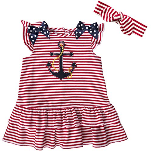 Good Lad Infant Girl - Good Lad Infant Girls Knit Nautical Dress with Anchor Applique, Headband, and Legging (12M)