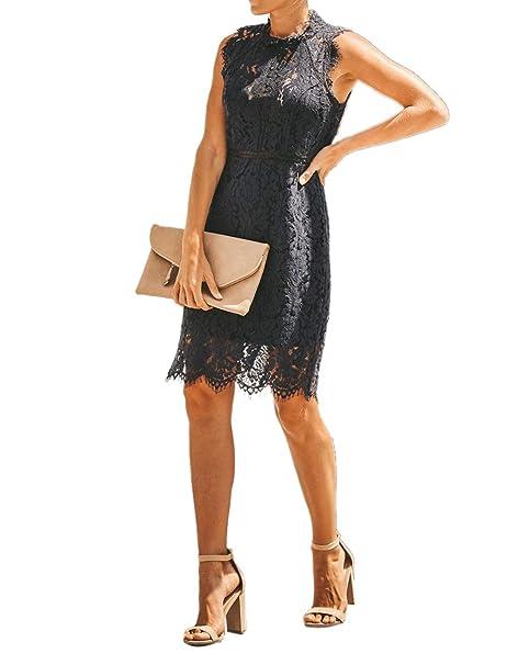 Amazon.com: Salimdy - Vestido de encaje floral elegante para ...