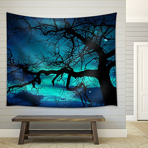 wall26 - Disquieting Landscape, Bare Tree and Street Lamp at Halloween Night, with Strange Light on The Dark Sky - Fabric Wall Tapestry Home Decor - 68x80 inches ()