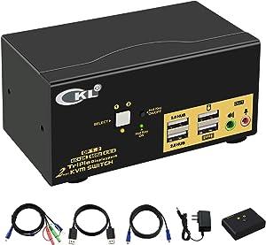 CKL KVM Switch Triple Monitor DisplayPort 2 Port 4K 60Hz 4:4:4, 2x3 DP KVM Switch with Audio and USB 2.0 HUBs, Model Number: CKL-623DP