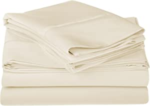 SUPERIOR 1200 Thread Count 100% Egyptian Cotton, Single Ply, King Bed Sheet Set, Solid, Ivory