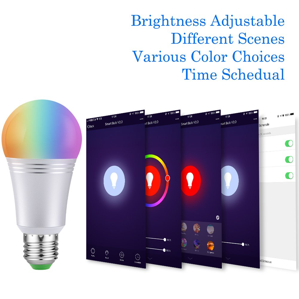 Ampoule LED Wifi Intelligente E27 Lampe Connectée Luminosité Réglable et Multicolore Dimmable Contrôlée par Smartphone/Google Home/Amazon Echo Alexa (7W)(E27, Lot de 2)