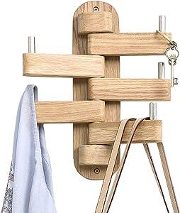 INMAN Coat Hooks for Wall, Oak Wood Wall Hooks with 5 Swivel Foldable Arms, 12'' Length Wall Coat Rack Hat Hooks for Bathroom Entryway Bedroom Office Kitchen, Heavy Duty