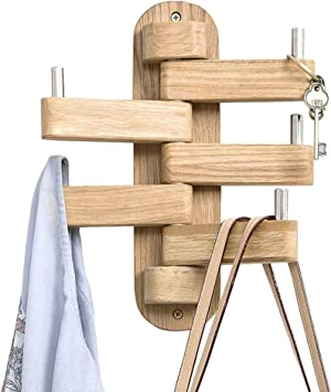 Cherry Wood Pack of 2 INMAN Wall Hooks Entryway Wall Hangers Hooks for Hanging Coats Bags and Towels Hats Wall Mounted Coat Hooks 2.36 Length Natural Wood Pegs