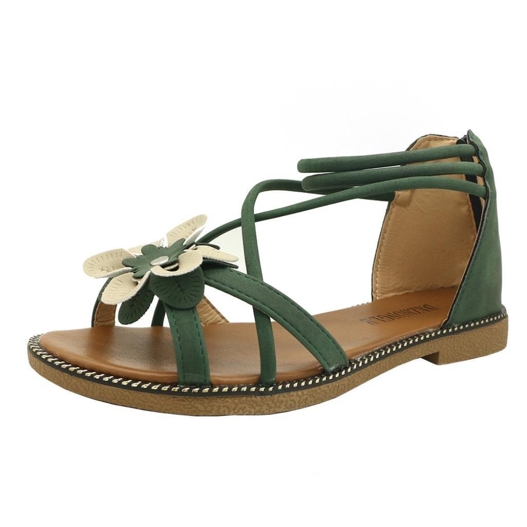 CLEARANCE SALE! MEIbax frauen blume flachem absatz anti - schleudern strandschuhe sandalen peep - toe - sandalen (34, Gruuml;n)34|Gr眉n