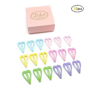 Ladies Girls 4 Pack Pink Heart Design Glitter Effect Hair Snap Clips Brand New