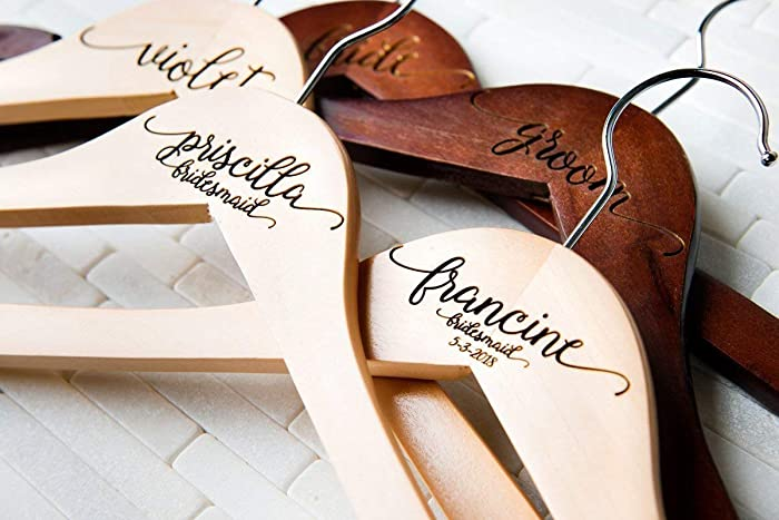 Amazon.com: 10 Wedding Dress Hangers Personalized Calligraphy Bride Bridesmaid Gift for the Couple Matron Maid of Honor Engraved Wood Quick Ship: Handmade