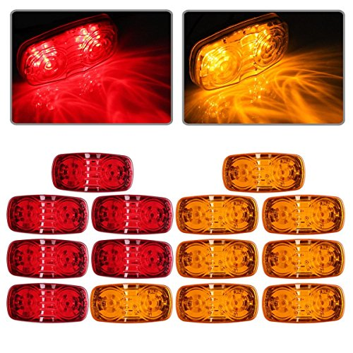 "Partsam New Rectangle 4"" x 2"" 7 Red & 7 Amber Side Marker Lights Double Bubble 12 Diodes"