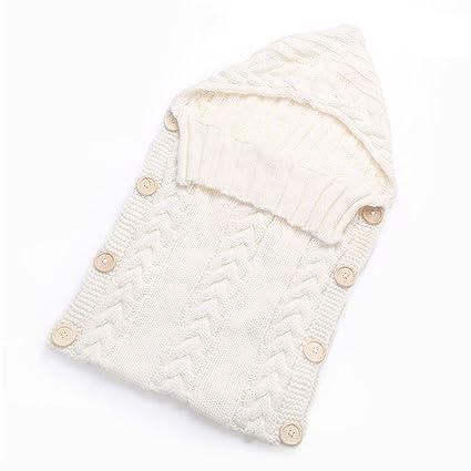 zhouba recién nacido bebé Crochet de Punto Bebé Swaddle Wrap muselina manta botón cierre saco de