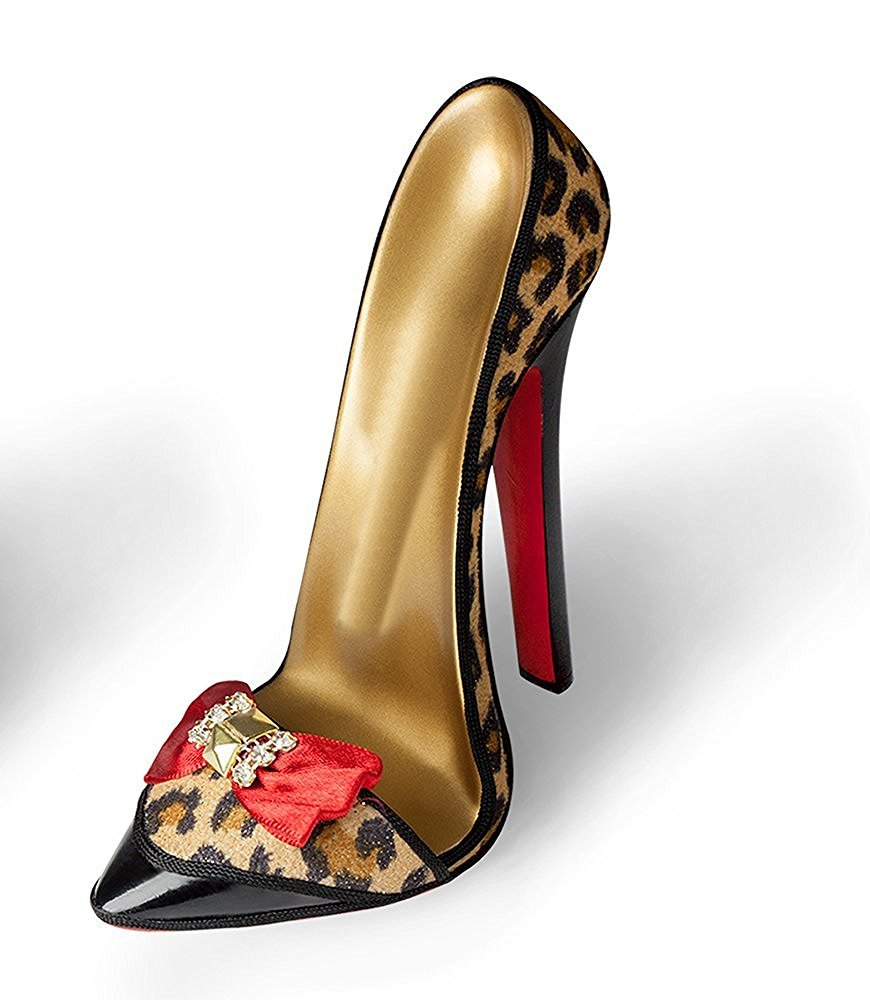 Stiletto Shoe Stand - Red Bow Leopard