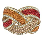 Gypsy Jewels Multi Color & Multi Shape Rhinestone Unique Statement Hinged Bangle Bracelet (Orange Red Peach Gold Tone)