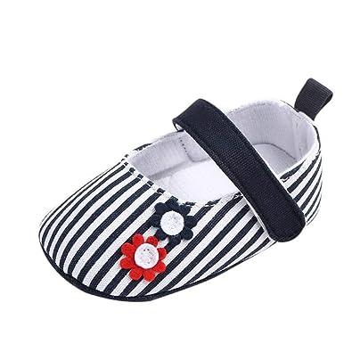 3fc07cac5ea46 Amazon.com: Gooldu 2019 Baby Shoes Girl Newborn Striped Crib Soft ...