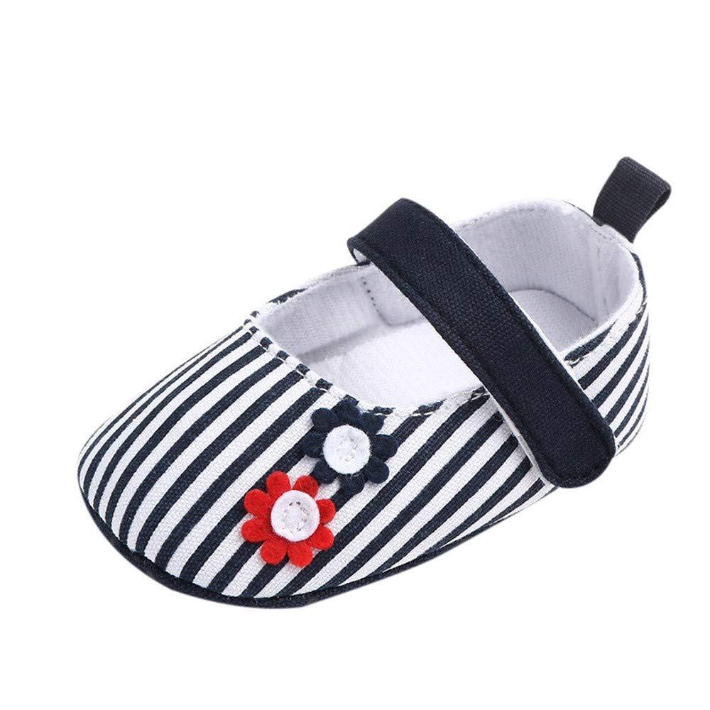 Kariwell Newborn Baby Cute Girls Striped Flower Princess First Walkers Soft Sole Shoes Flat Shoes