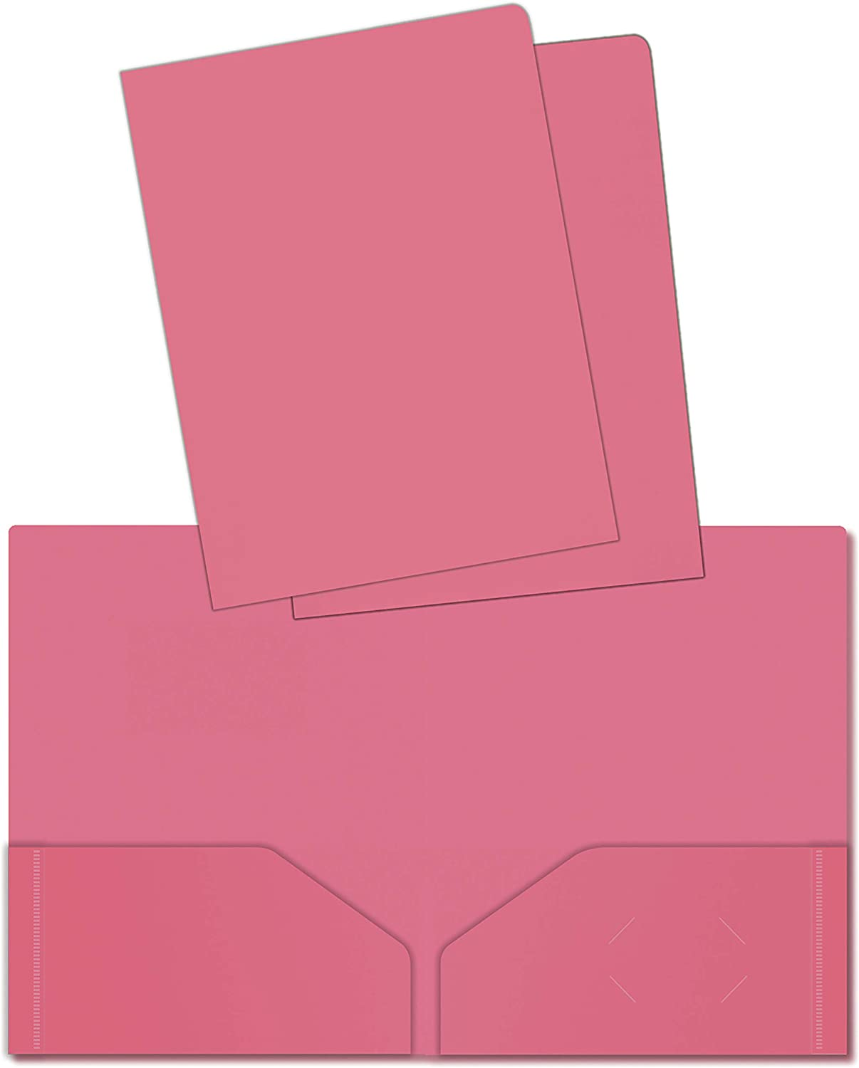 Heavyweight Plastic 2 Pocket Portfolio Folder, Letter Size Poly Folders by Better Office Products, 24 Pack (Pink)