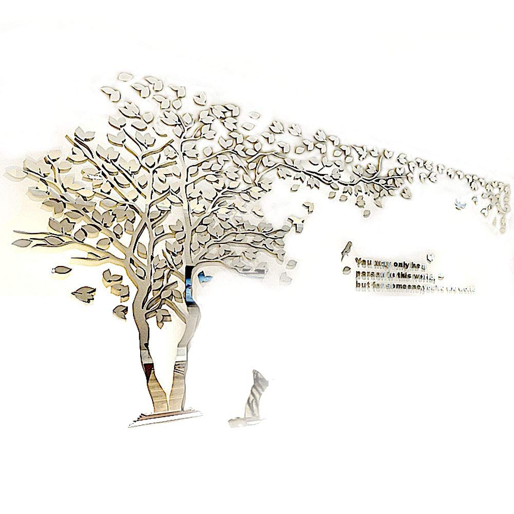 XMSJSIY Tree Birds 3D Wall Decals Mirror Wall Stickers Tattoos Wall Decor 79inch Tall (Large 3.5x2.1, Silver)