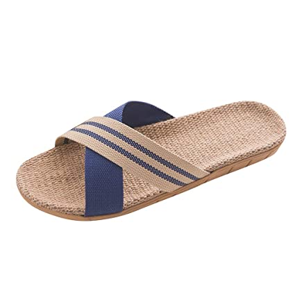 608f8ddc735ee Amazon.com: Men's Anti-Slip Linen Home Shoes - Indoor Open Toe Flat ...