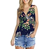 TINGZI Women Tees Flower Printed Shirts Sleeveless T Shirts With Button Tunics Blouse Tops Slim Fit Comfy Tunic