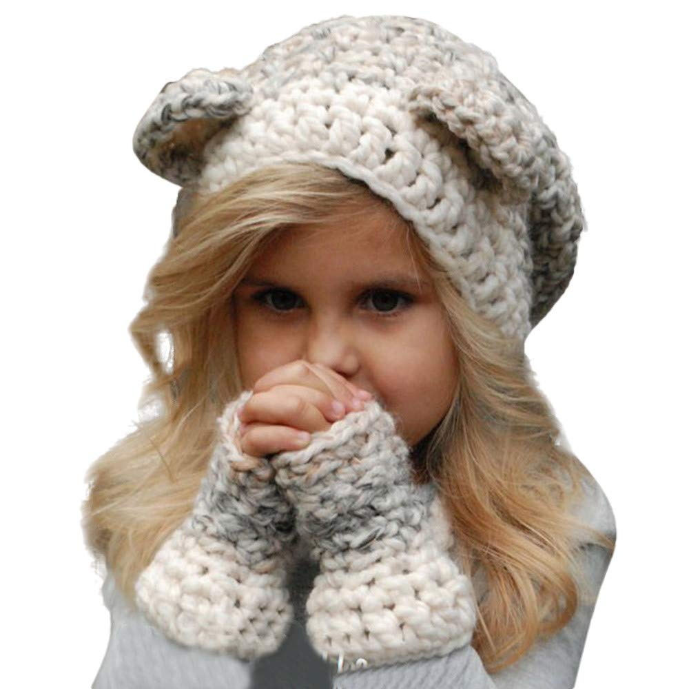 kaiCran Unisex Baby Toddler Kids Knitted Warm Hat Scarf Cute Thick Earflap Hood Hat Scarves for Autumn Winter